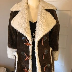 Vintage Penny Lane dark brown suede Sherpa coat